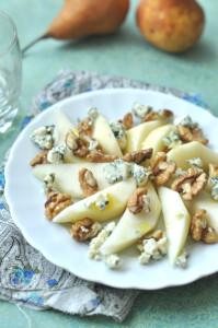 kéksajt-dió-körte gluténmentes salátarecept