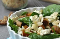 Fetás-aszalt gyümölcsös spenót saláta