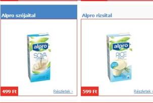 Alpro növényi, gluténmentes italok akciója a Tescoban