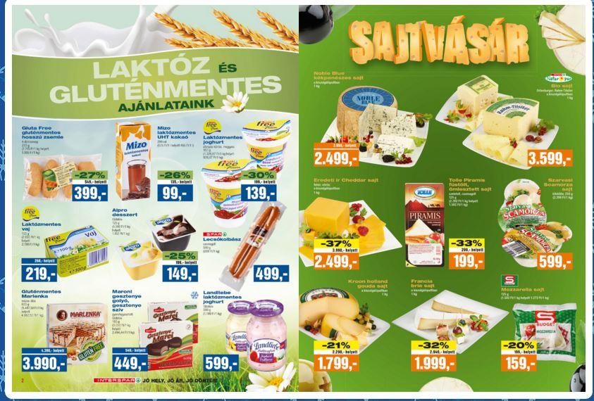 Interspar laktóz és gluténmentes élelmiszerek