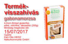 Termékvisszahívás magas gluténtartalom - 4-Korn-Brösel gabonamorzsa