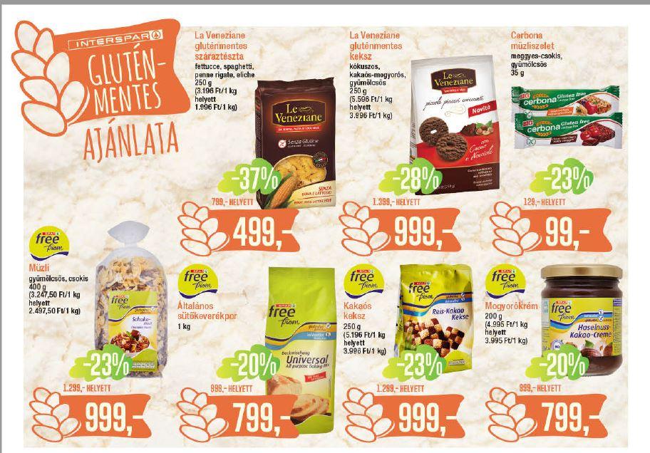 Interspar gluténmentes élelmiszerek