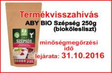Termékvisszahívás! ABY BIO 250g bio kölesliszt 31.10.2016