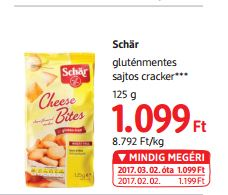 Schär gluténmentes sajtos cracker 125 g