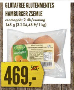 gluténmentes hamburger zsemle akció