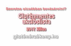 Akciós gluténmentes terméklista 2017 július