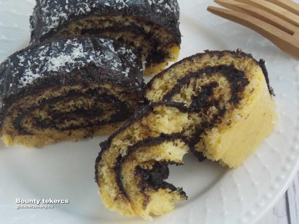 gluténmentes Bounty tetekercs recept | gluténmentes sütemény receptek