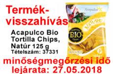 Termékvisszahívás - gluténmentes kukoricachips 2018.02.16