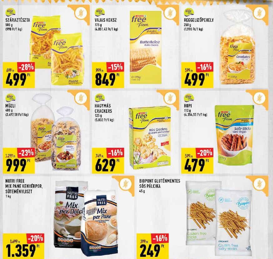 gluténmentes termék akciók SPAR