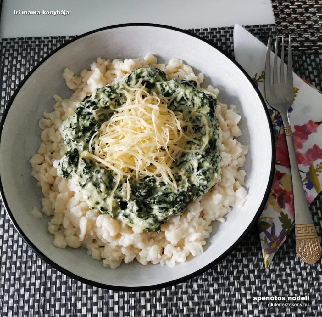 spenótos túrós gluténmentes nokedli recept